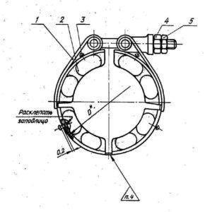 Хомут ОСТ 1 10085-71 для фланцевых соединений трубопроводов из стали для воздушных систем по ОСТ 1 10078-71 и трубопроводов с агрегатами из стали для воздушных систем по ОСТ 1 10079-71