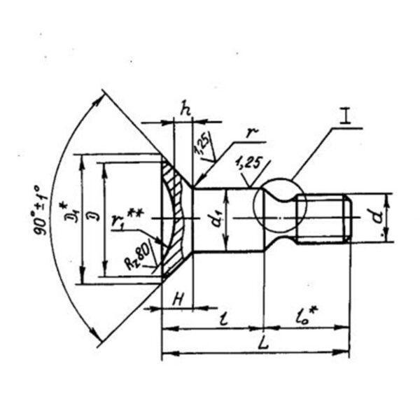 Болты с потайной головкой ∠90° ОСТ 1 31056-80