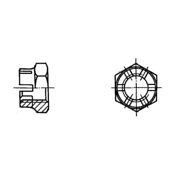ОСТ 1 33042-80 Гайки шестигранная корончатая высокая