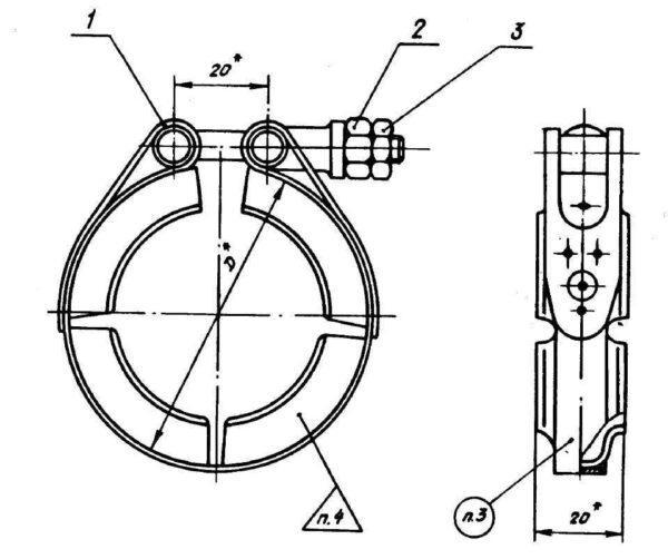 ОСТ 1 10056-71 Хомуты для фланцевых соединений трубопроводов