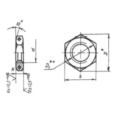 ОСТ 1 10317-72 Гайки, предназначенные для соединений трубопроводов