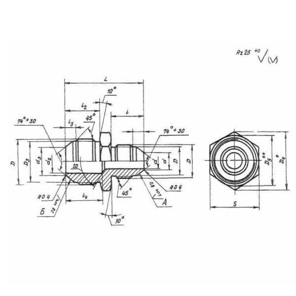 ОСТ 1 10320-72 Прямые переходники, предназначенные для соединений трубопроводов по наружному конусу